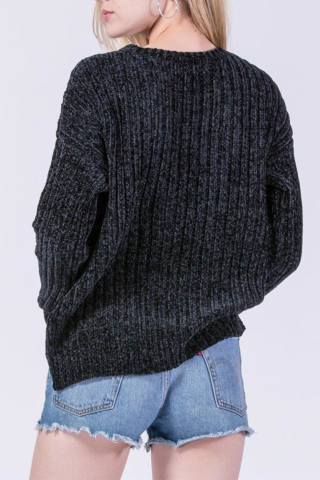 Double Zero Chenille Ribbed Sweater - Back Cropped Image