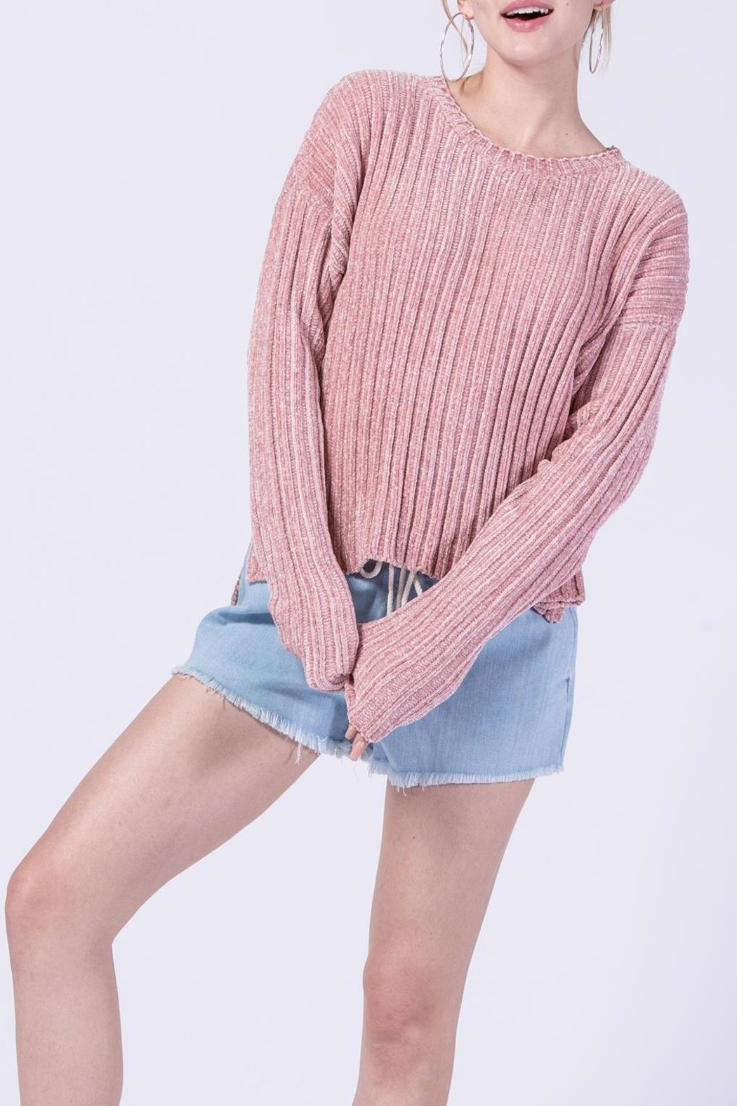 Double Zero Chenille Ribbed Sweater - Front Cropped Image