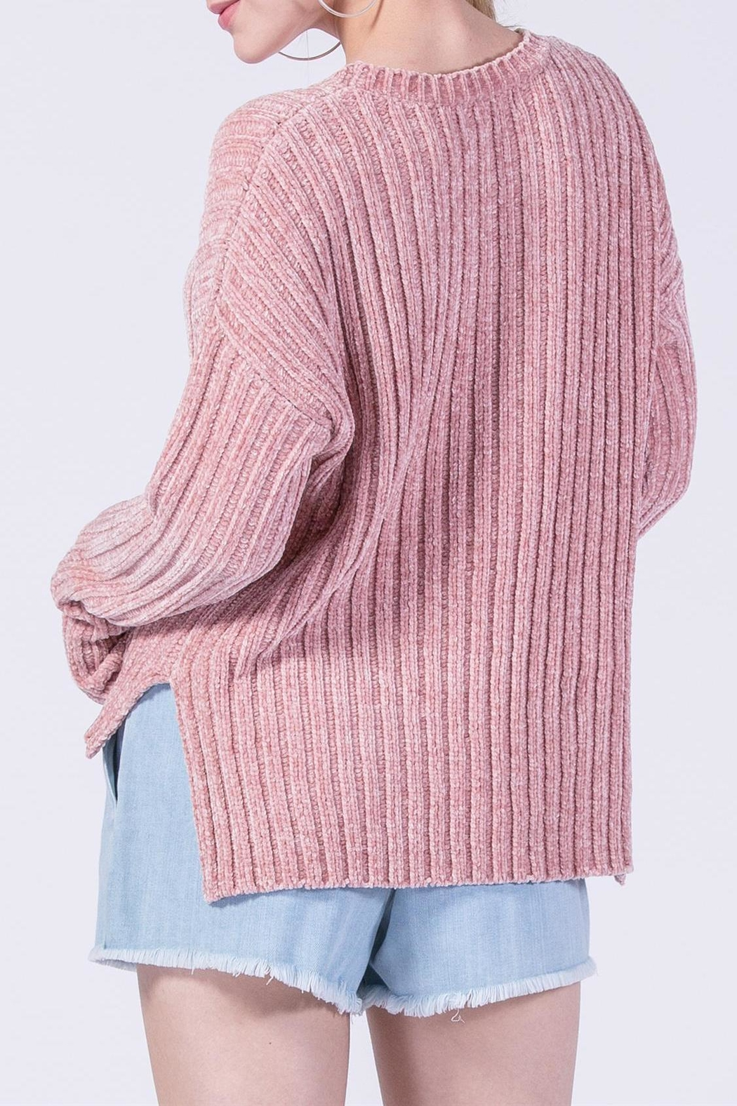Double Zero Chenille Ribbed Sweater - Front Full Image