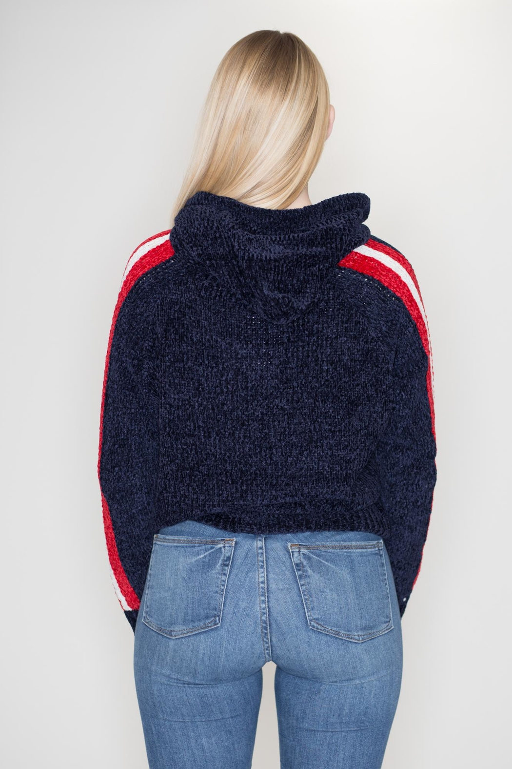 Timing Chenille Striped Hoodie - Side Cropped Image