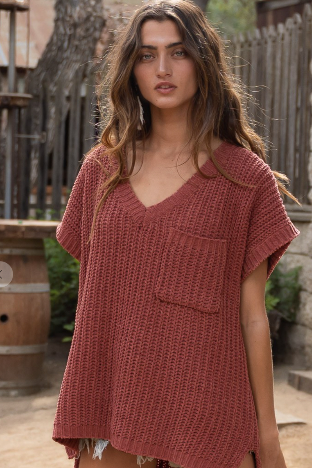 POL  Chenille Thread Sweater - Front Cropped Image