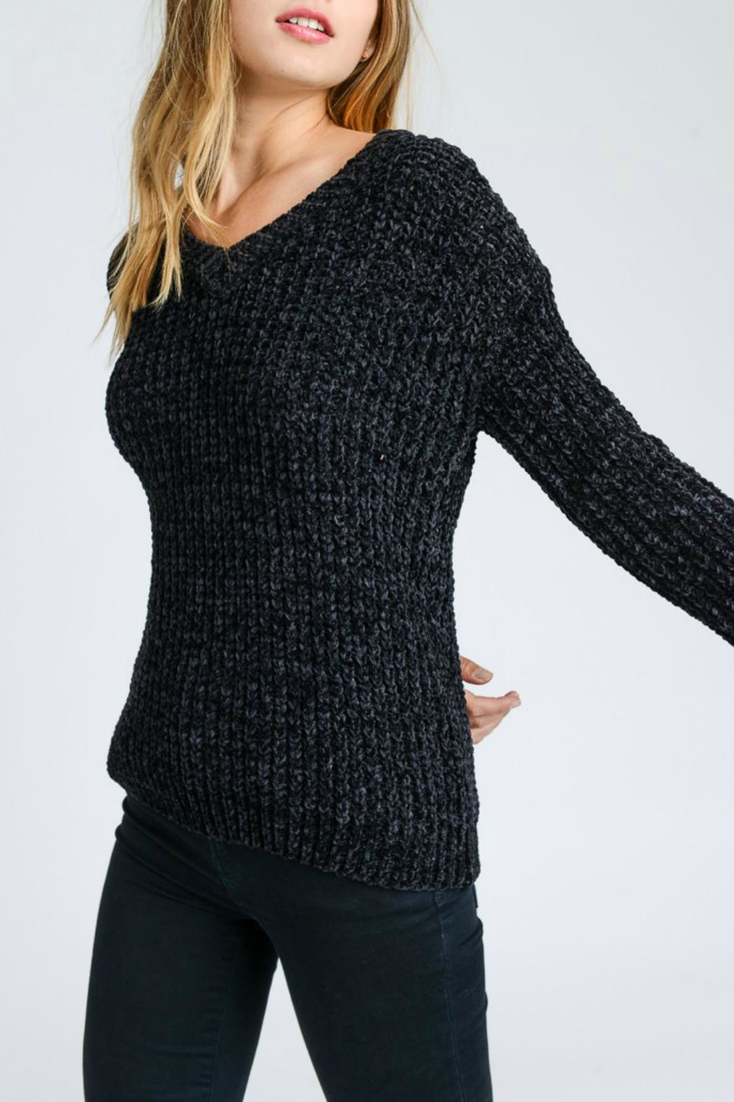 Lovetree Chenille V-Neck Sweater - Side Cropped Image