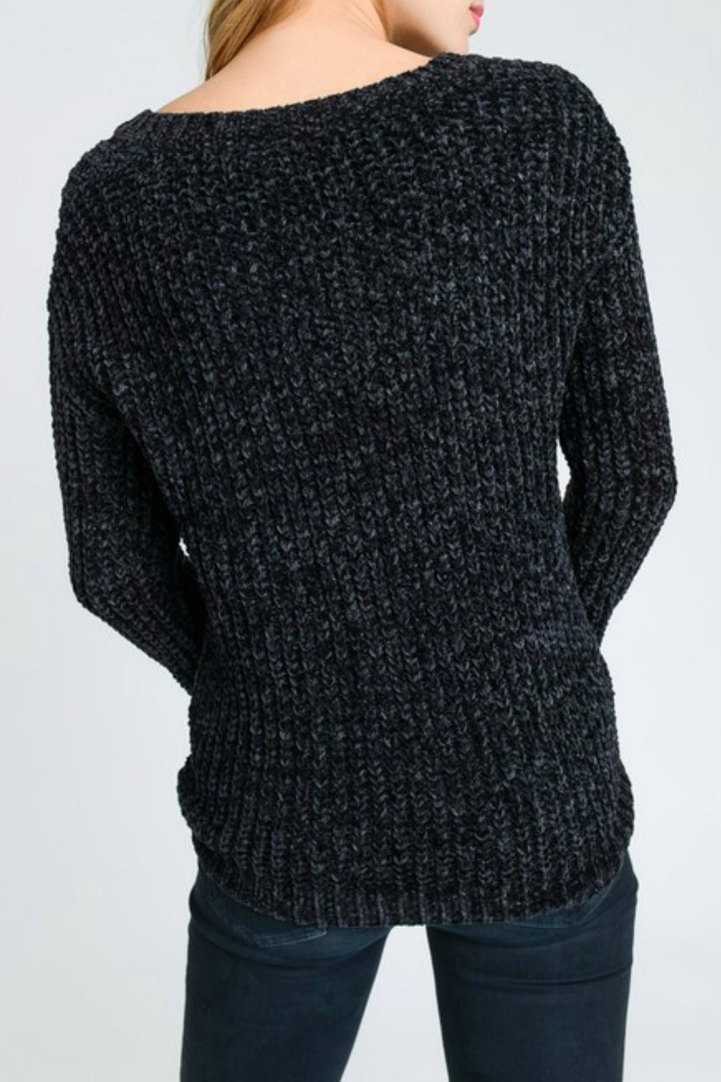 Lovetree Chenille V-Neck Sweater - Front Full Image