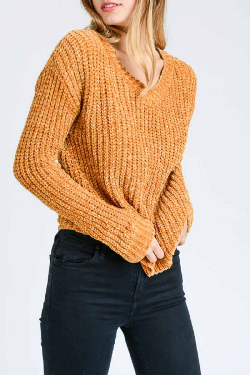 Lovetree Chenille V-Neck Sweater - Back Cropped Image