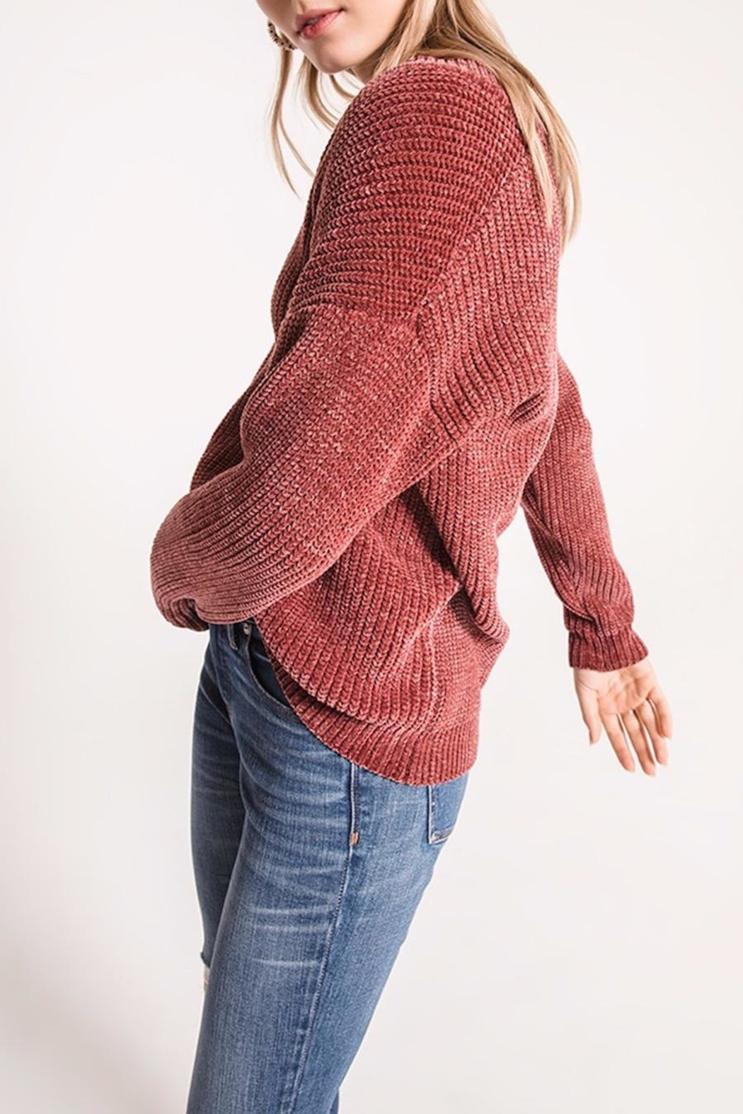 rag poets Chenille V-Neck Sweater - Side Cropped Image