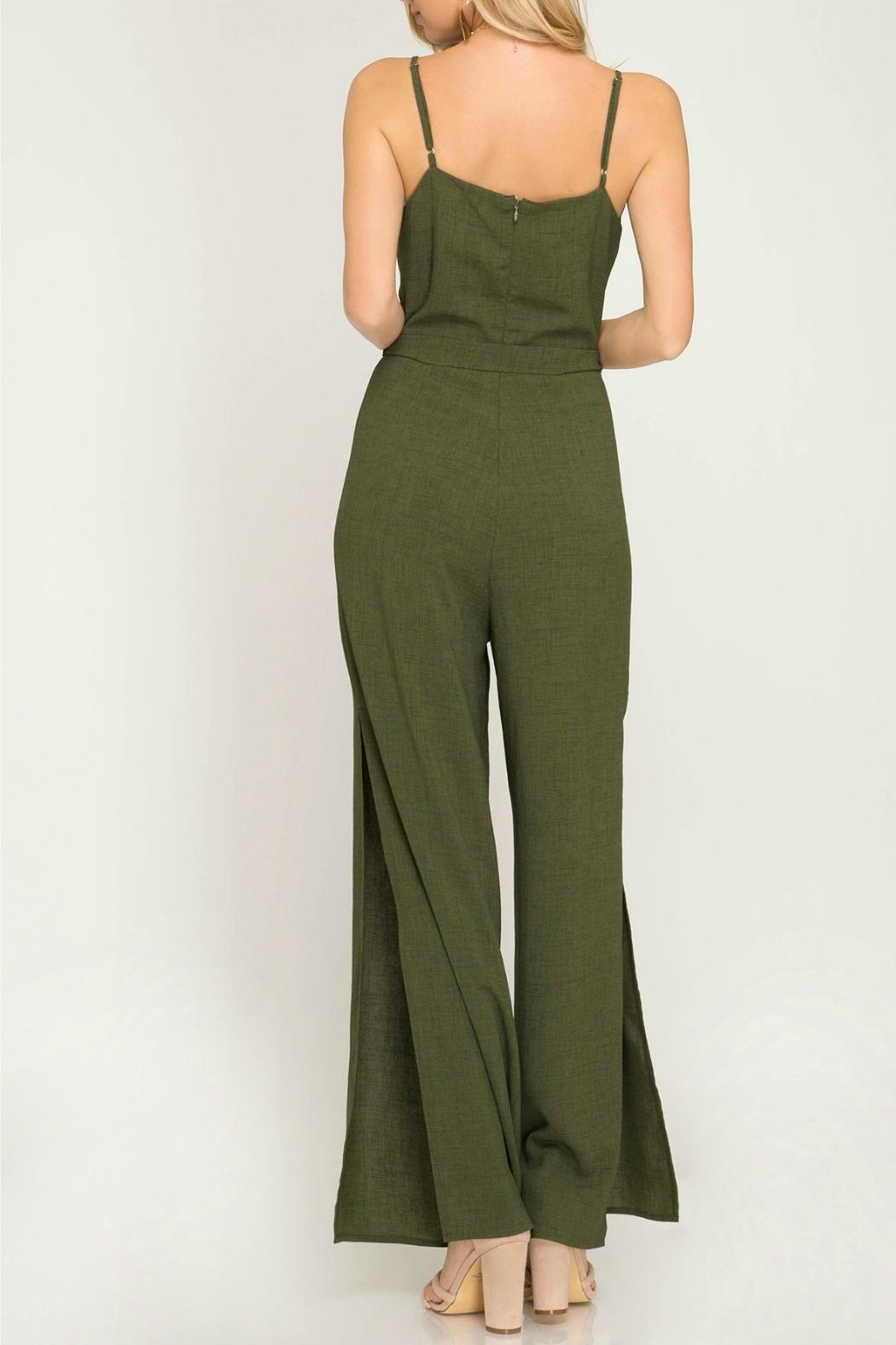 She + Sky Cherice Olive Jumpsuit - Front Full Image