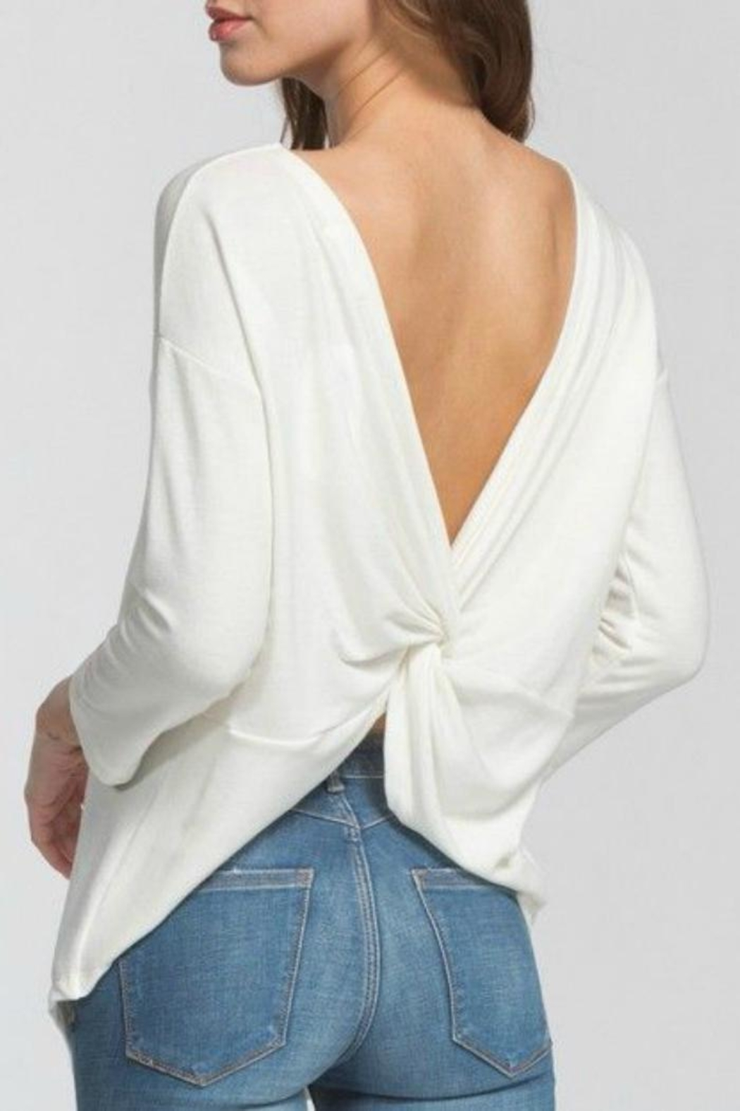 Cherish Backless Sweater Top - Front Cropped Image