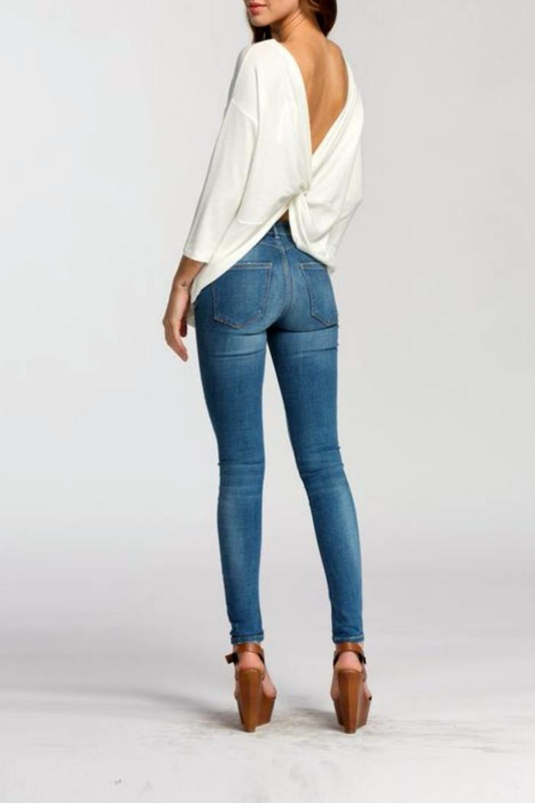 Cherish Backless Sweater Top - Side Cropped Image