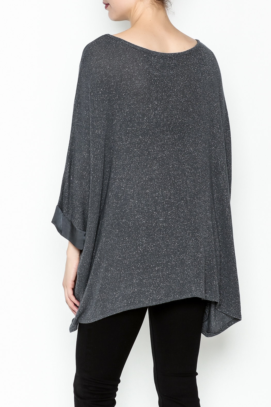 Cherish Brushed Asymmetrical Tunic - Back Cropped Image