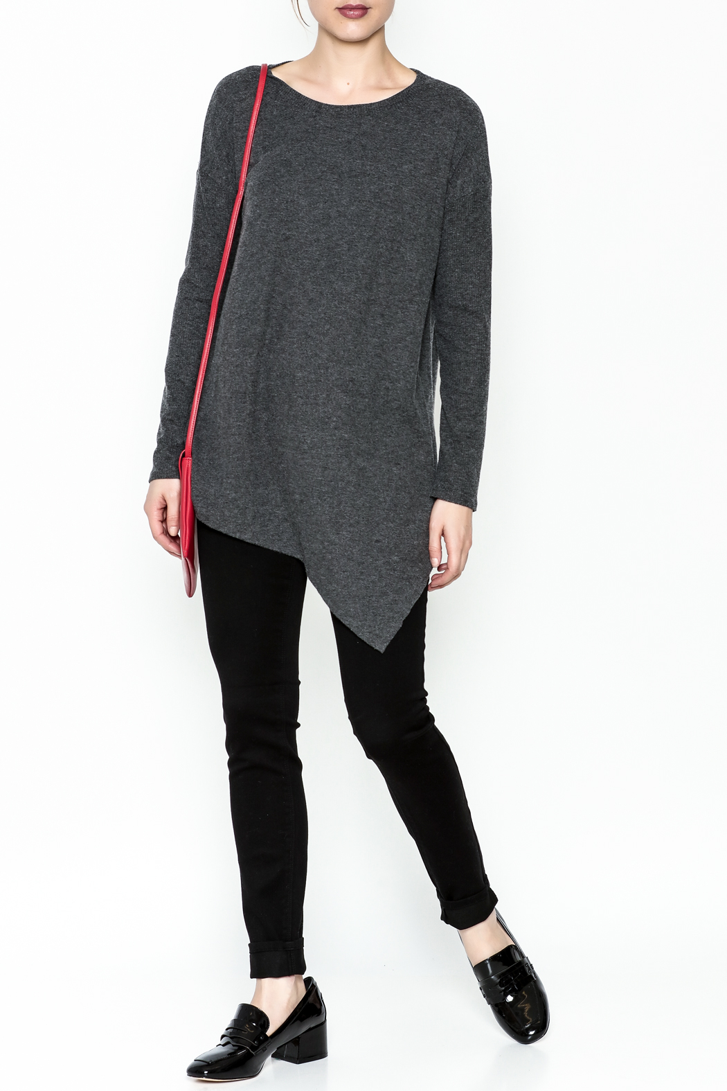 Cherish Brushed Asymmetrical Tunic - Side Cropped Image