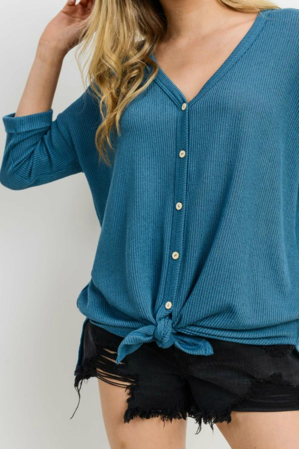 Cherish Button Down Knit Top - Back Cropped Image