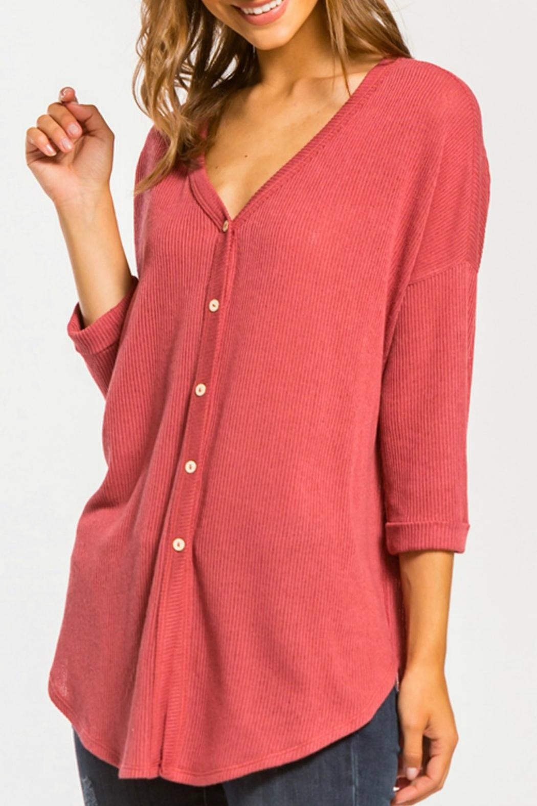 Cherish Button Down Knit Top - Front Cropped Image