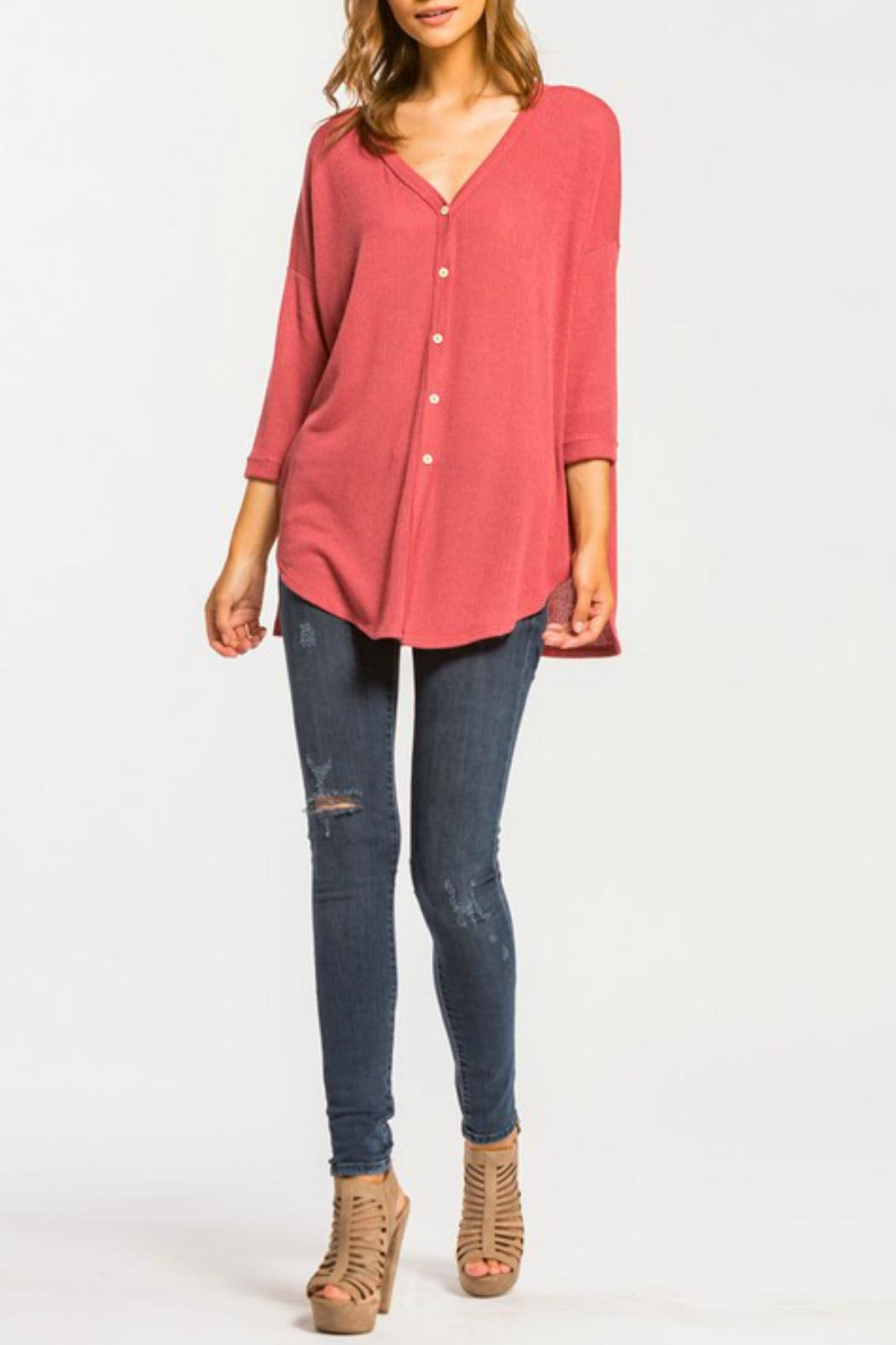Cherish Button Down Knit Top - Side Cropped Image