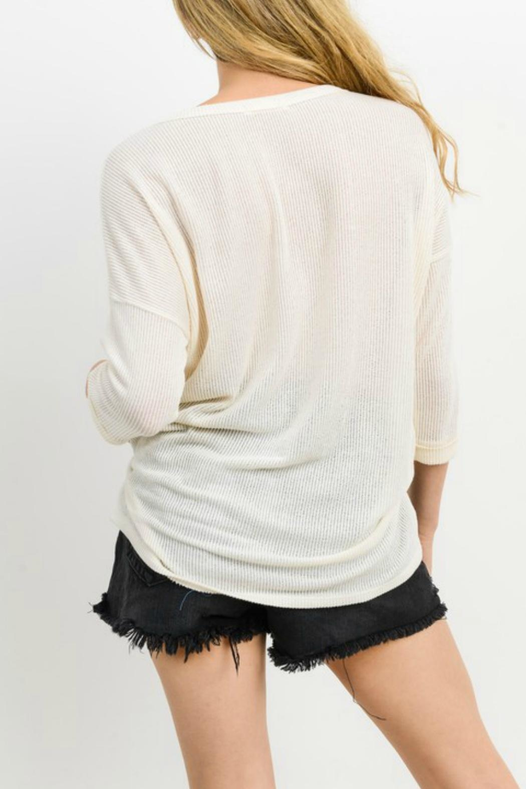 Cherish Button Down Knit Top - Front Full Image