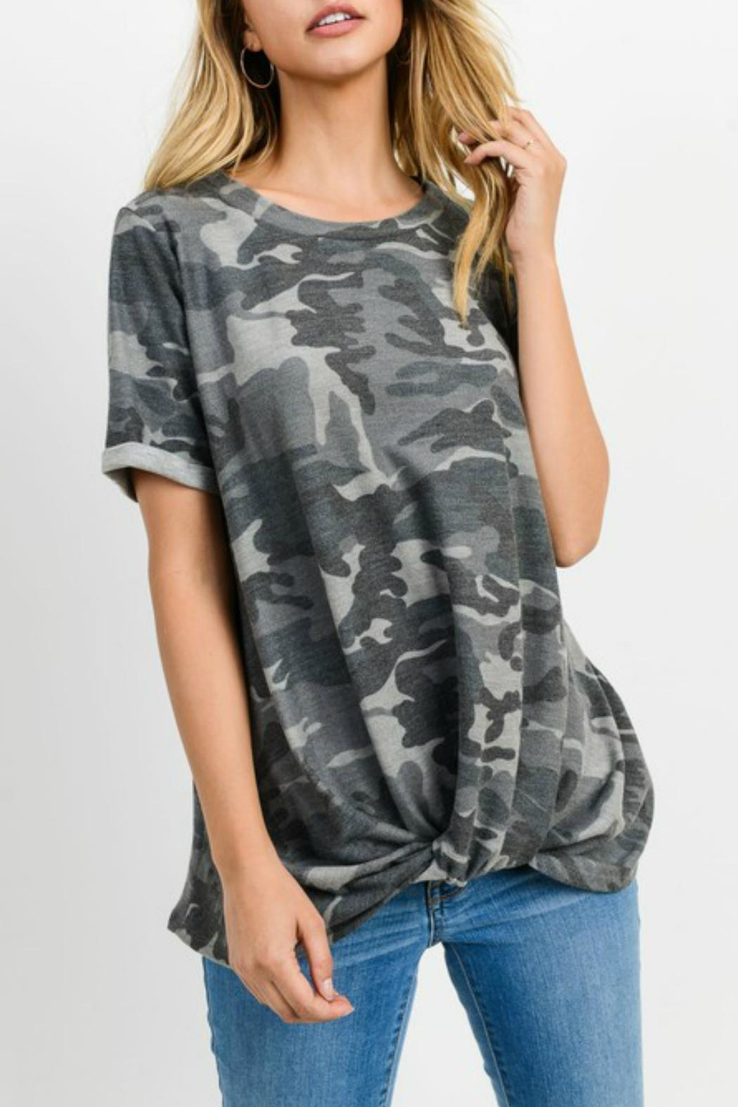 Cherish Camo Twist Knit-Top - Front Cropped Image