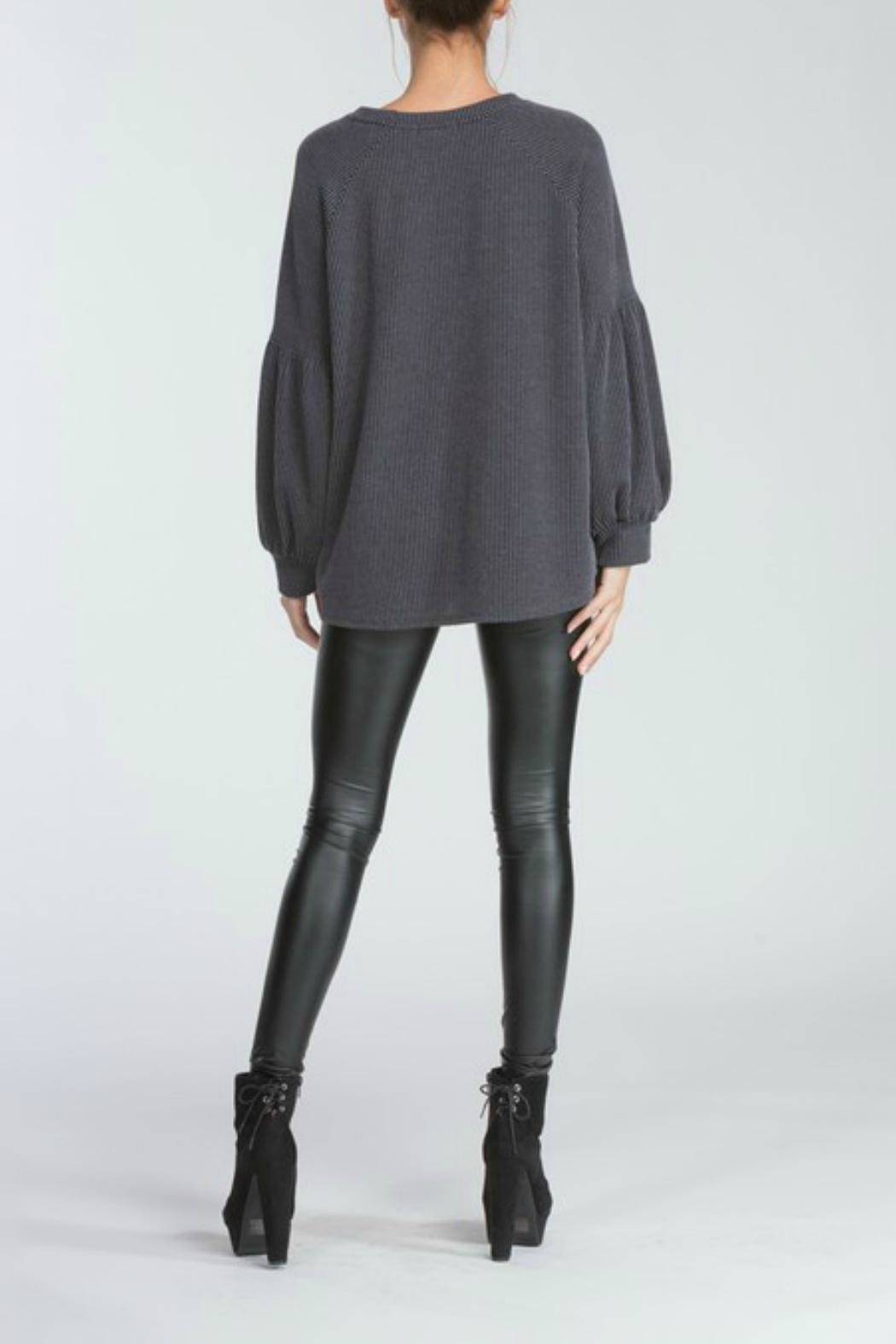 Cherish Charcoal Knit Top - Side Cropped Image
