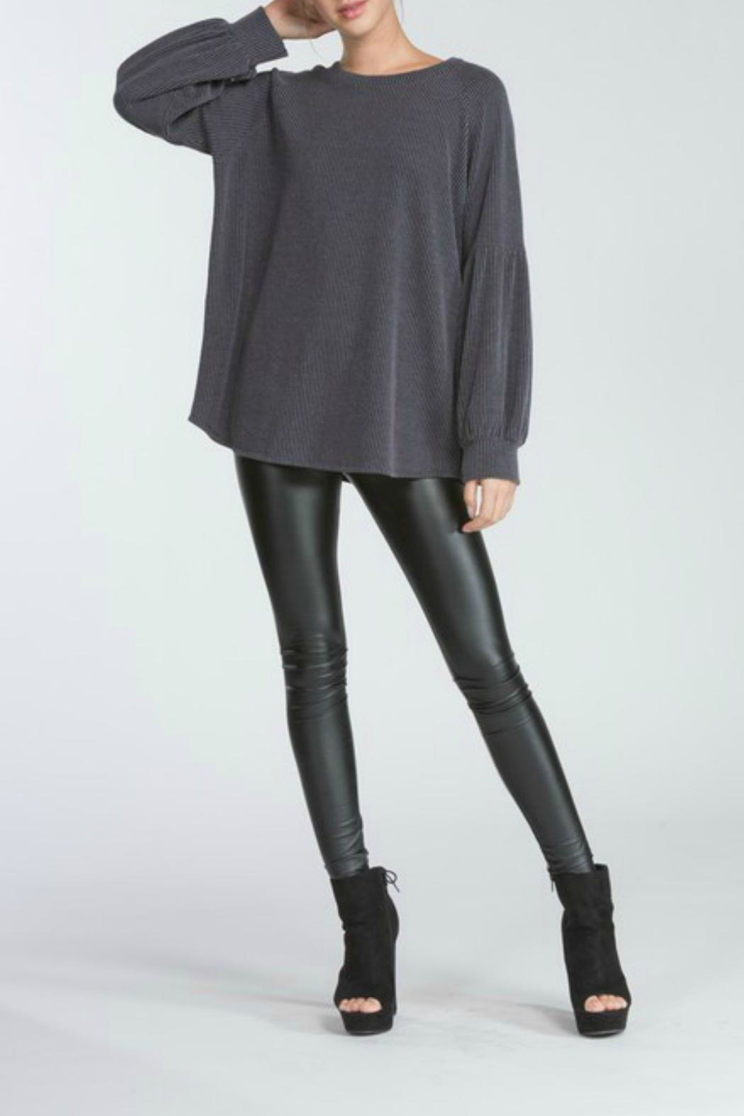 Cherish Charcoal Knit Top - Front Full Image