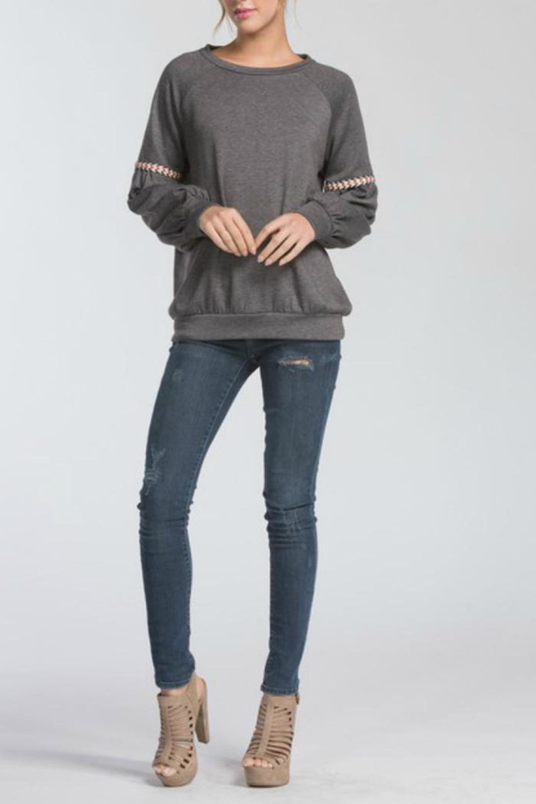 Cherish Charcoal Pullover - Front Full Image