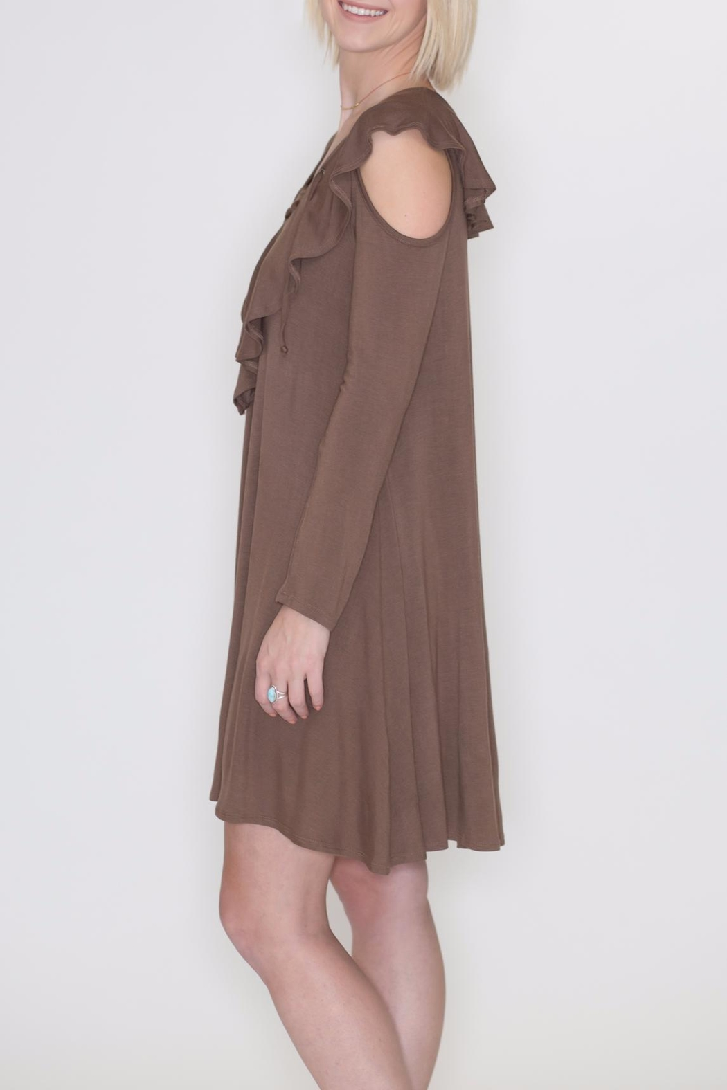 Cherish Cold Shoulder Dress - Front Full Image