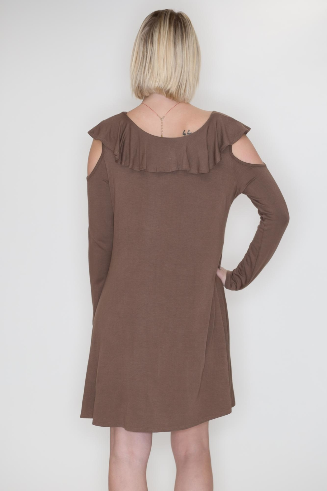 Cherish Cold Shoulder Dress - Side Cropped Image
