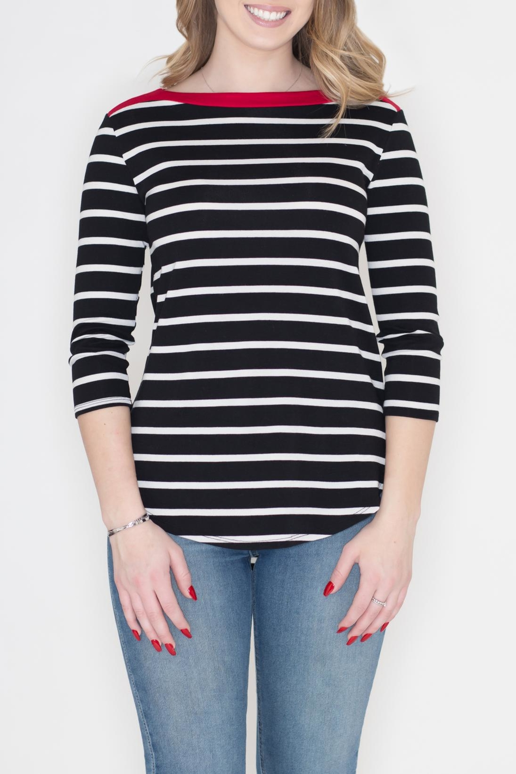 Cherish Contrast Stripe Top - Front Cropped Image