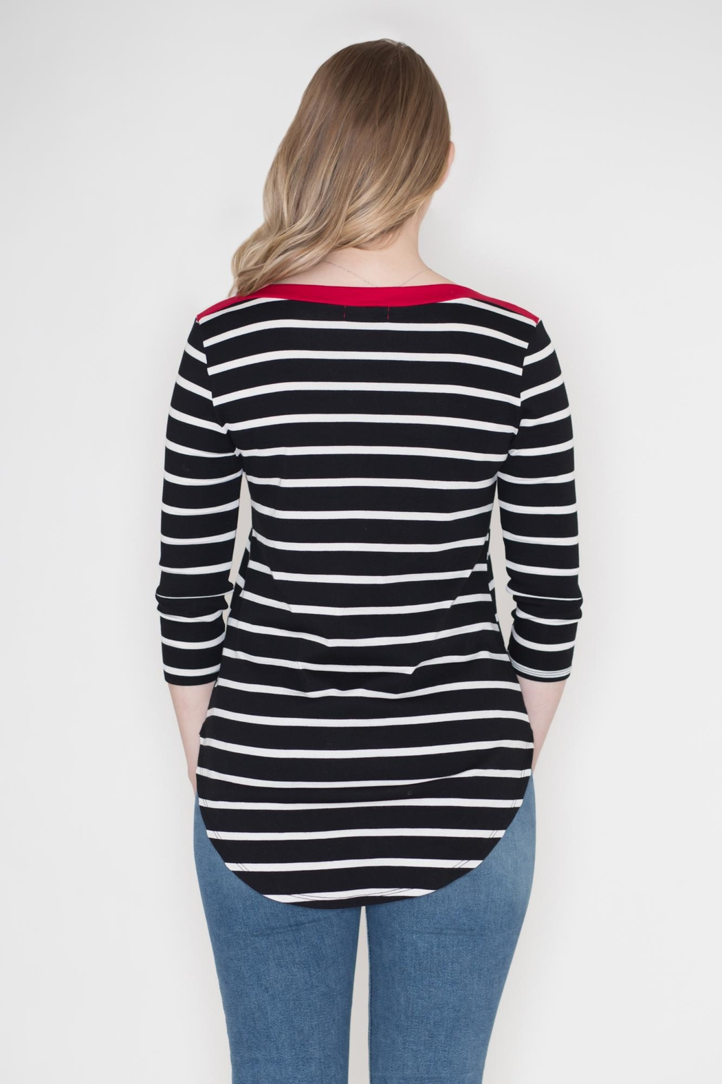 Cherish Contrast Stripe Top - Side Cropped Image