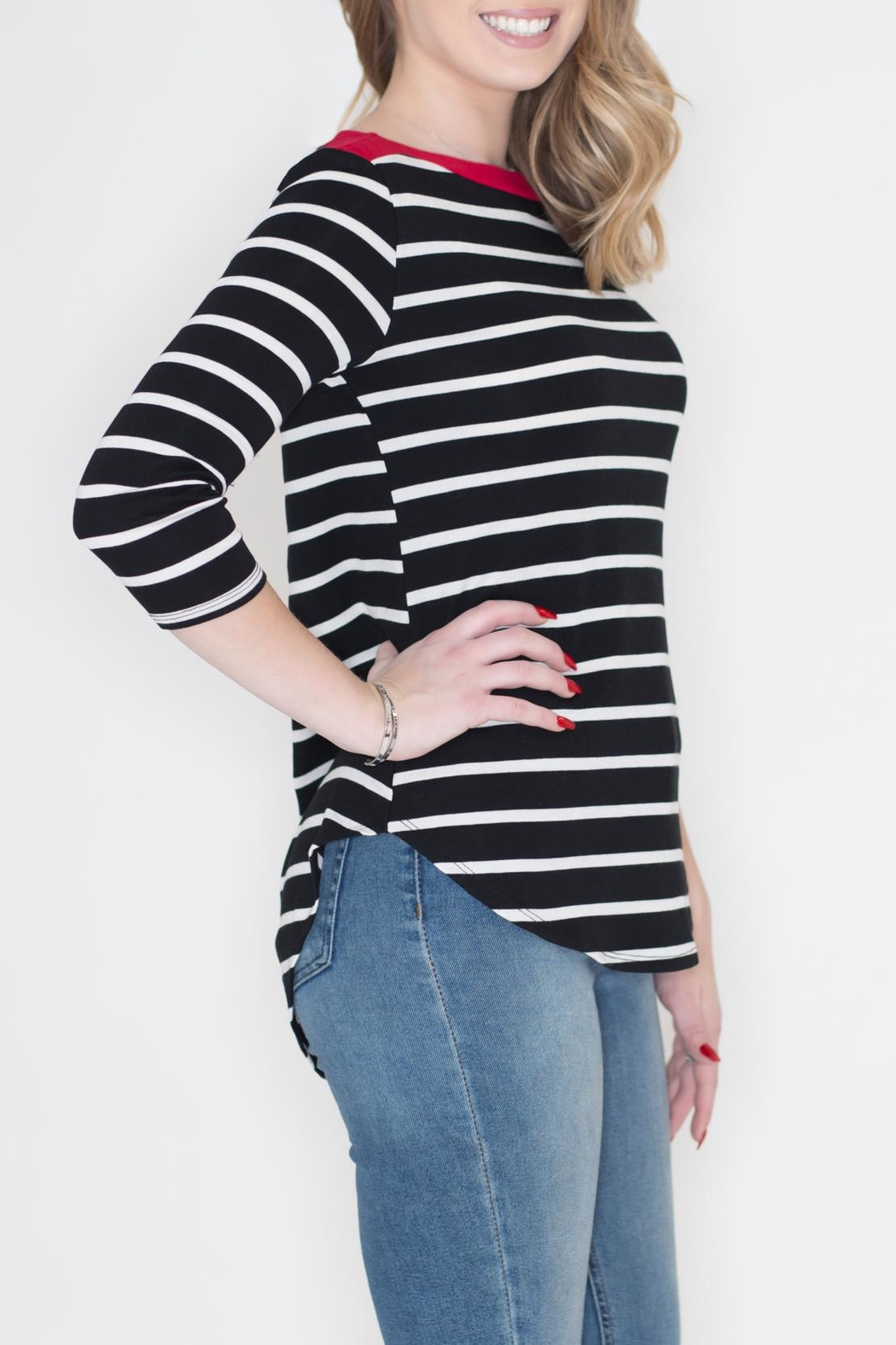 Cherish Contrast Stripe Top - Front Full Image