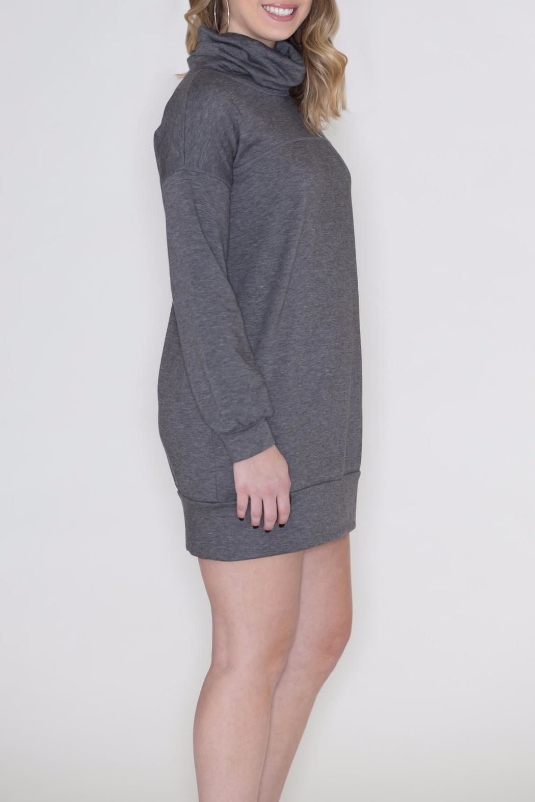 Cherish Cowl Sweatshirt Dress - Side Cropped Image