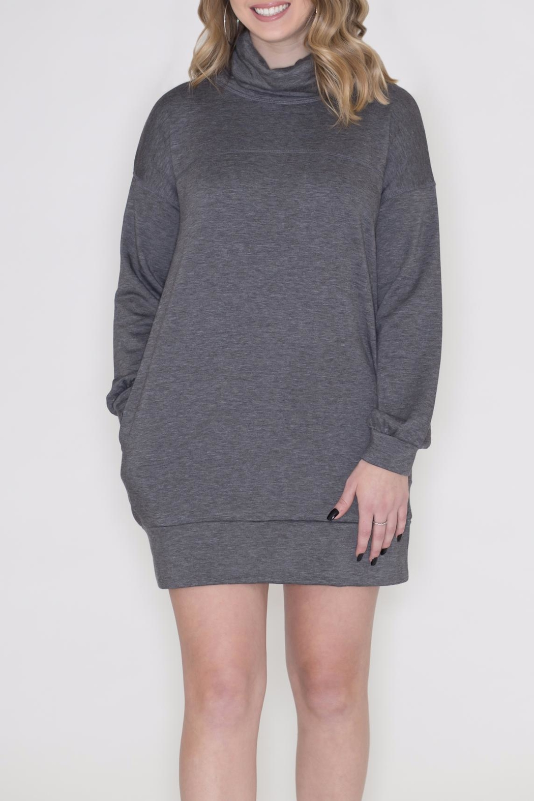 Cherish Cowl Sweatshirt Dress - Front Full Image