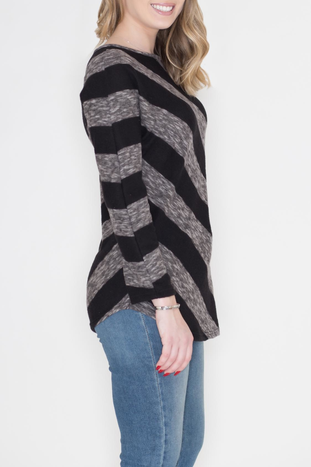 Cherish Diagonal Striped Top - Front Full Image