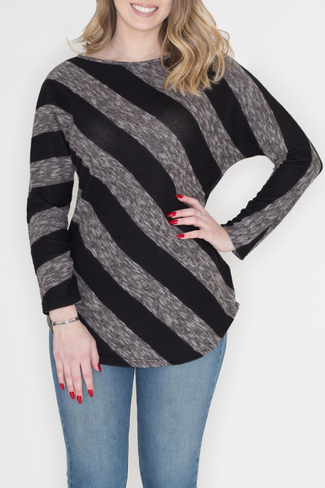 Cherish Diagonal Striped Top - Main Image
