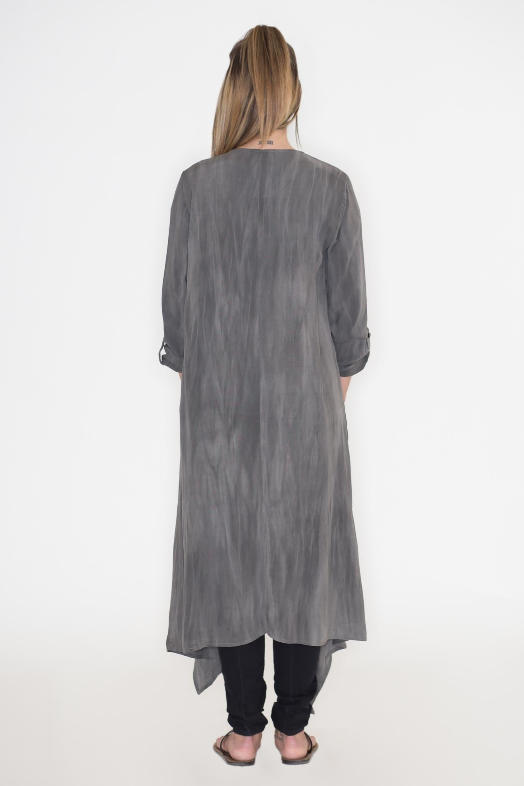 Cherish Charcoal Duster Cardigan - Side Cropped Image