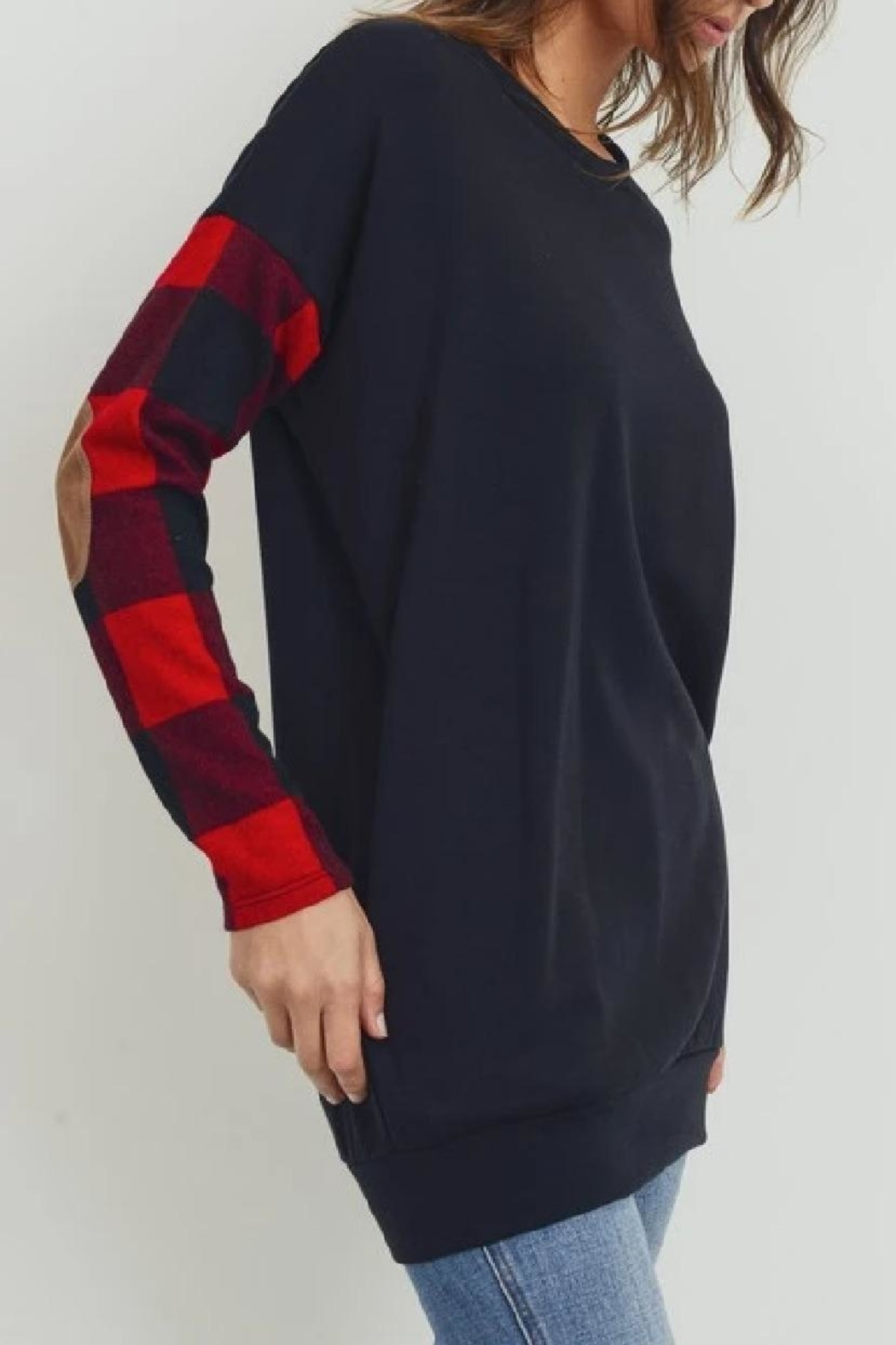 Cherish Elbow-Patch Tunic Top - Back Cropped Image
