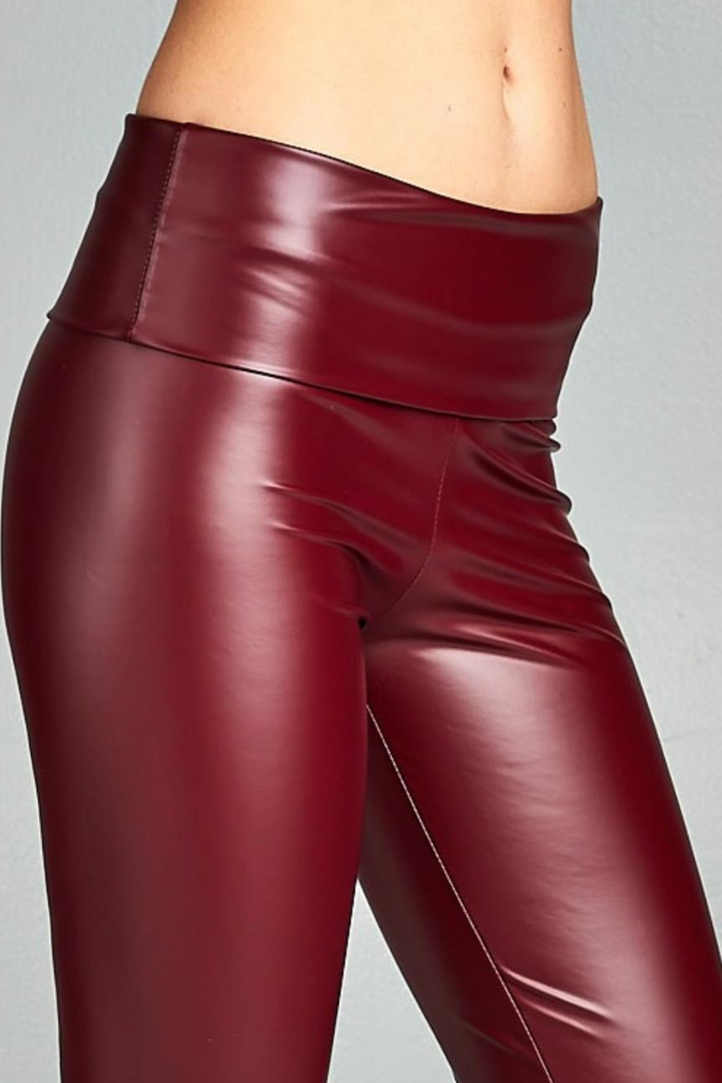 Cherish Fitted Pleather Legging - Front Cropped Image