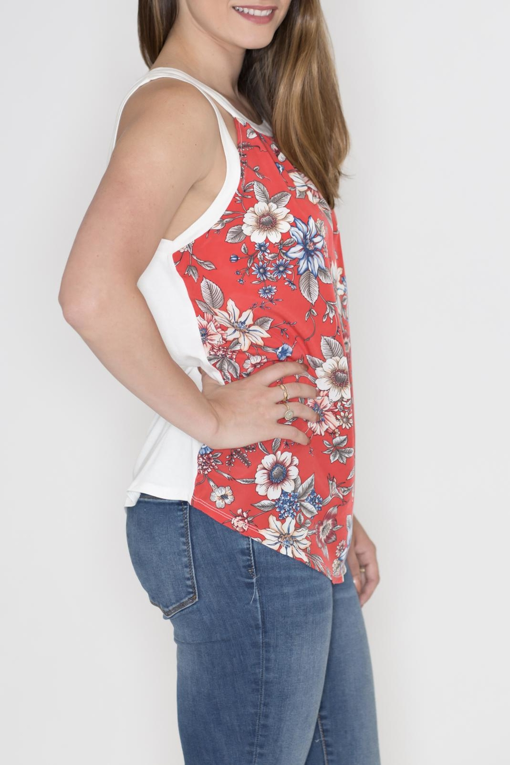 Cherish Floral Cut Out Top - Front Full Image