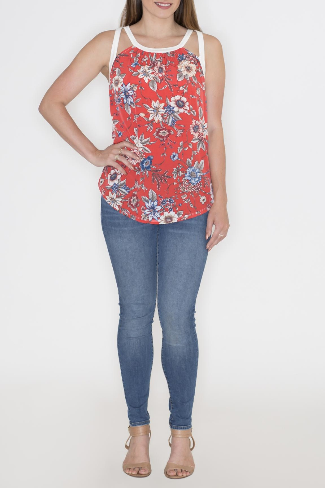 Cherish Floral Cut Out Top - Back Cropped Image