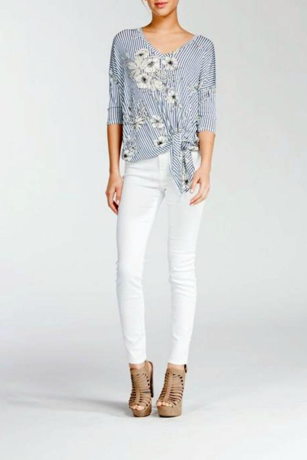 Cherish Floral Knot Top - Front Full Image