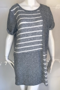 Shoptiques Product: Grey-Striped Sweater Dress