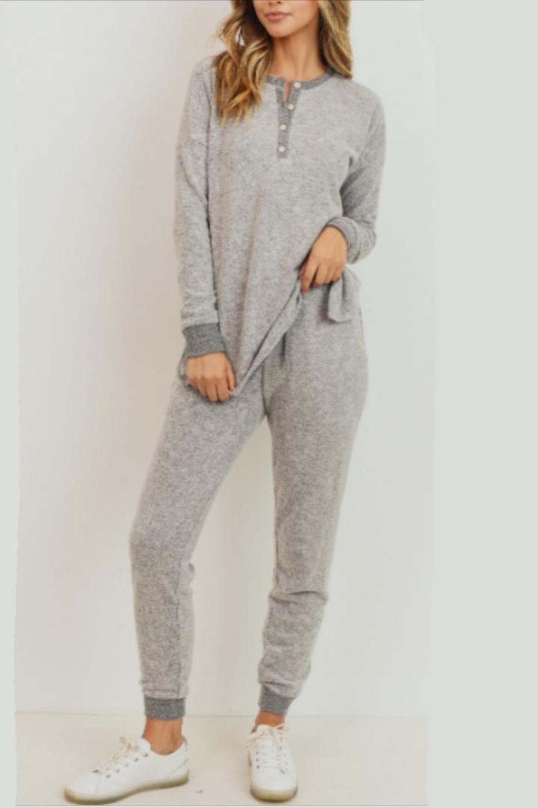 Cherish Heather Grey Jogger - Front Cropped Image