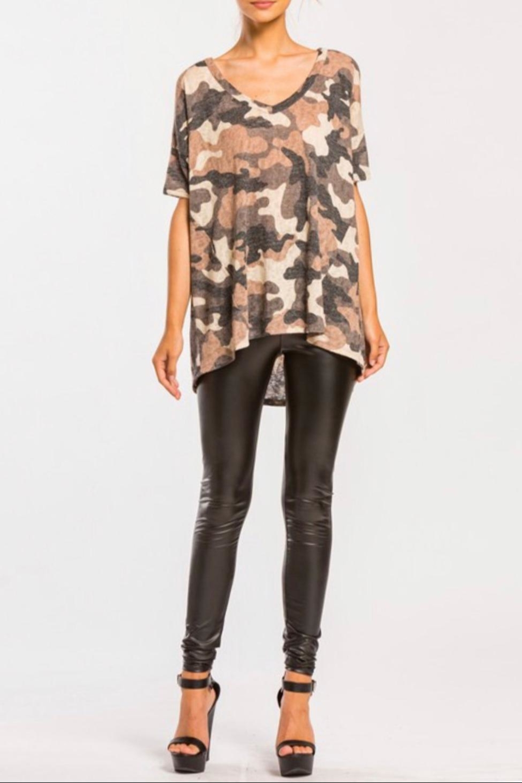 Cherish High-Low Camo Top - Front Full Image