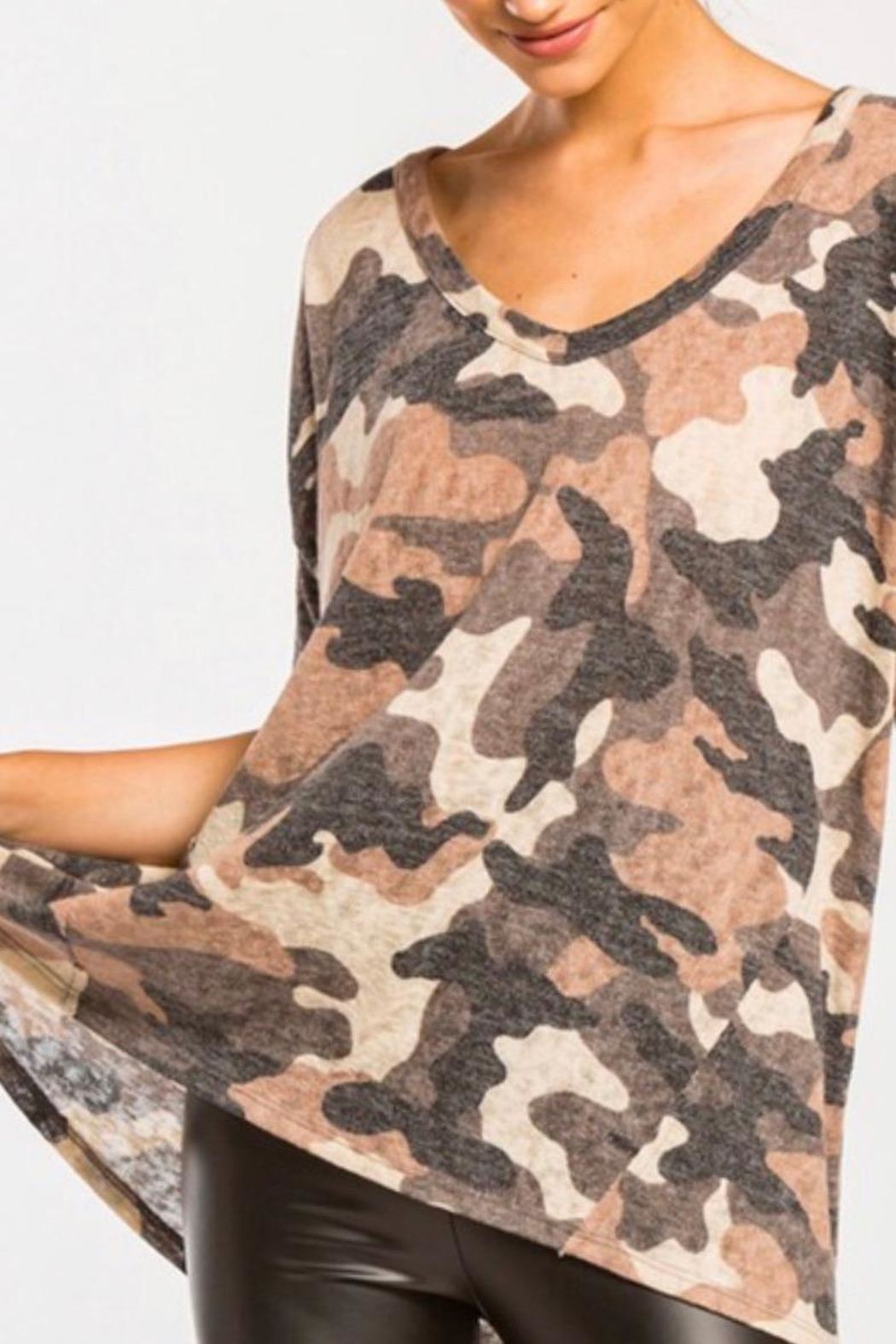 Cherish High-Low Camo Top - Front Cropped Image