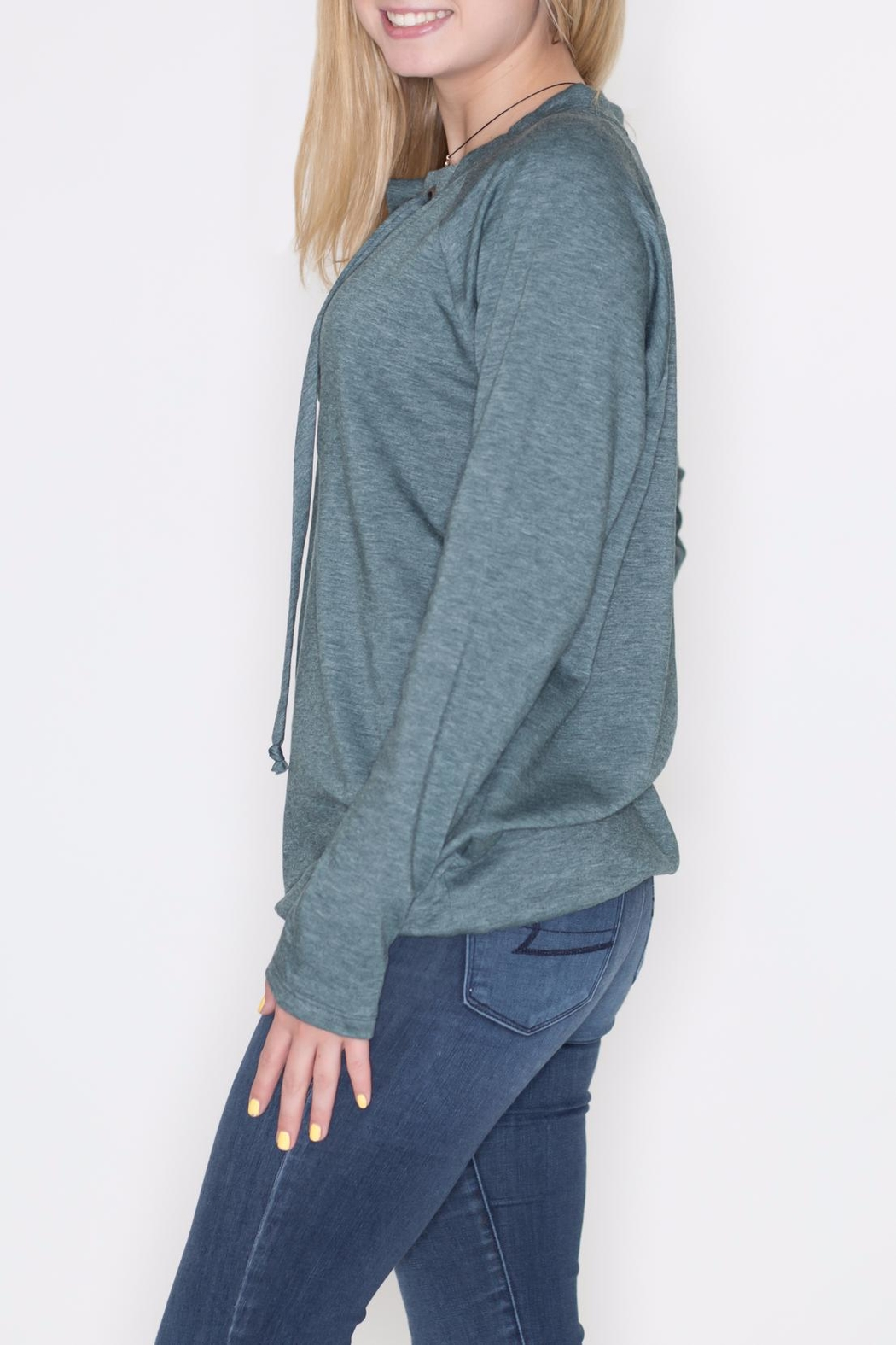 Cherish Lace Up Pullover Top - Front Full Image