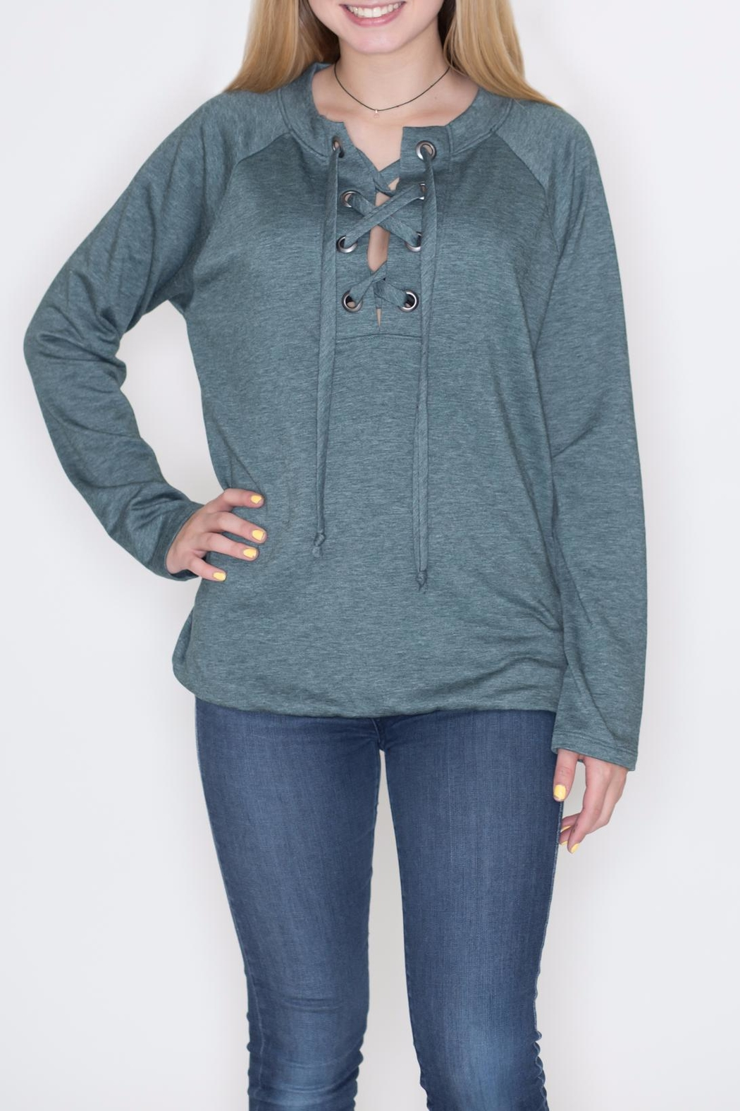 Cherish Lace Up Pullover Top - Main Image