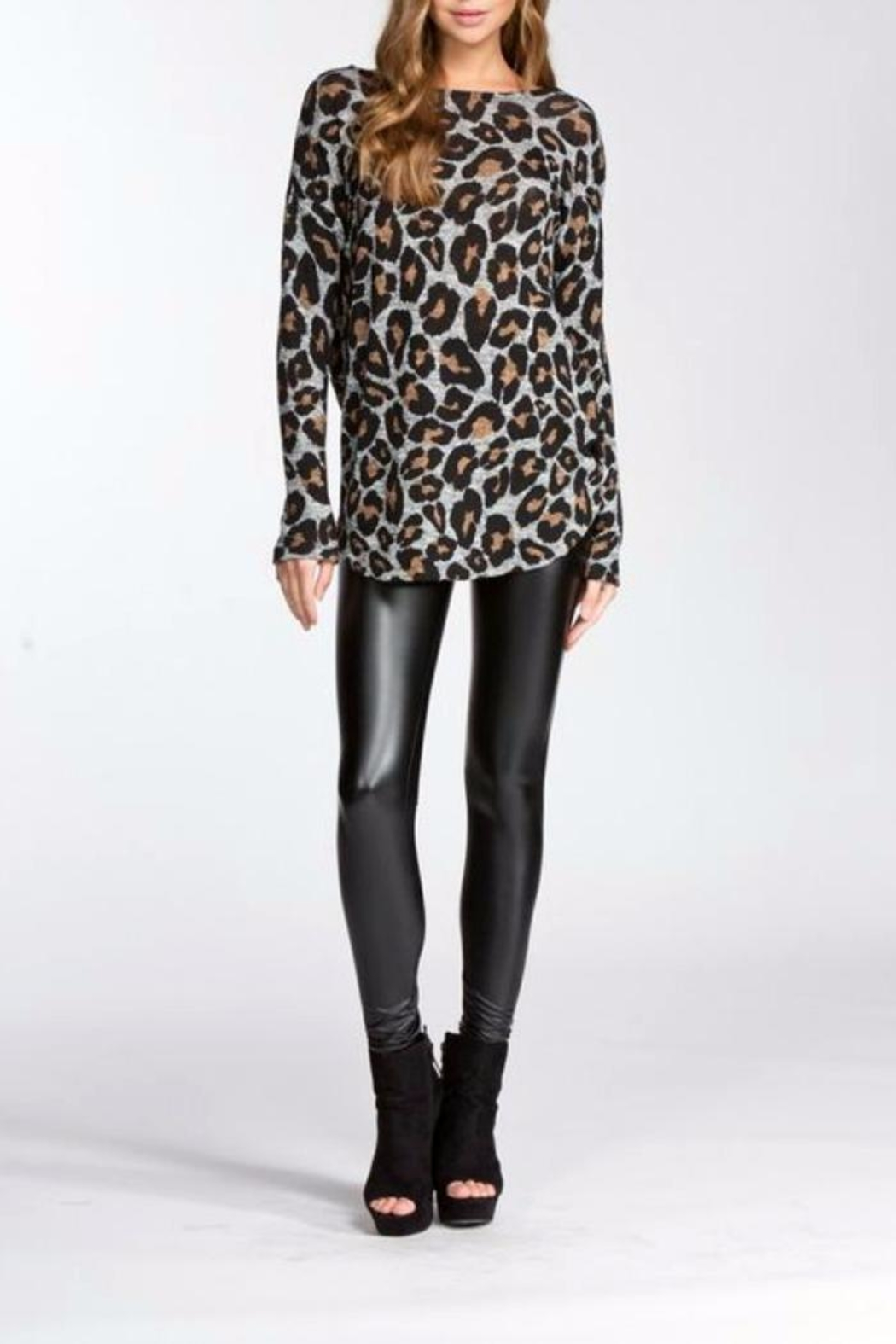 Cherish Leopard Open Back Sweater - Front Cropped Image