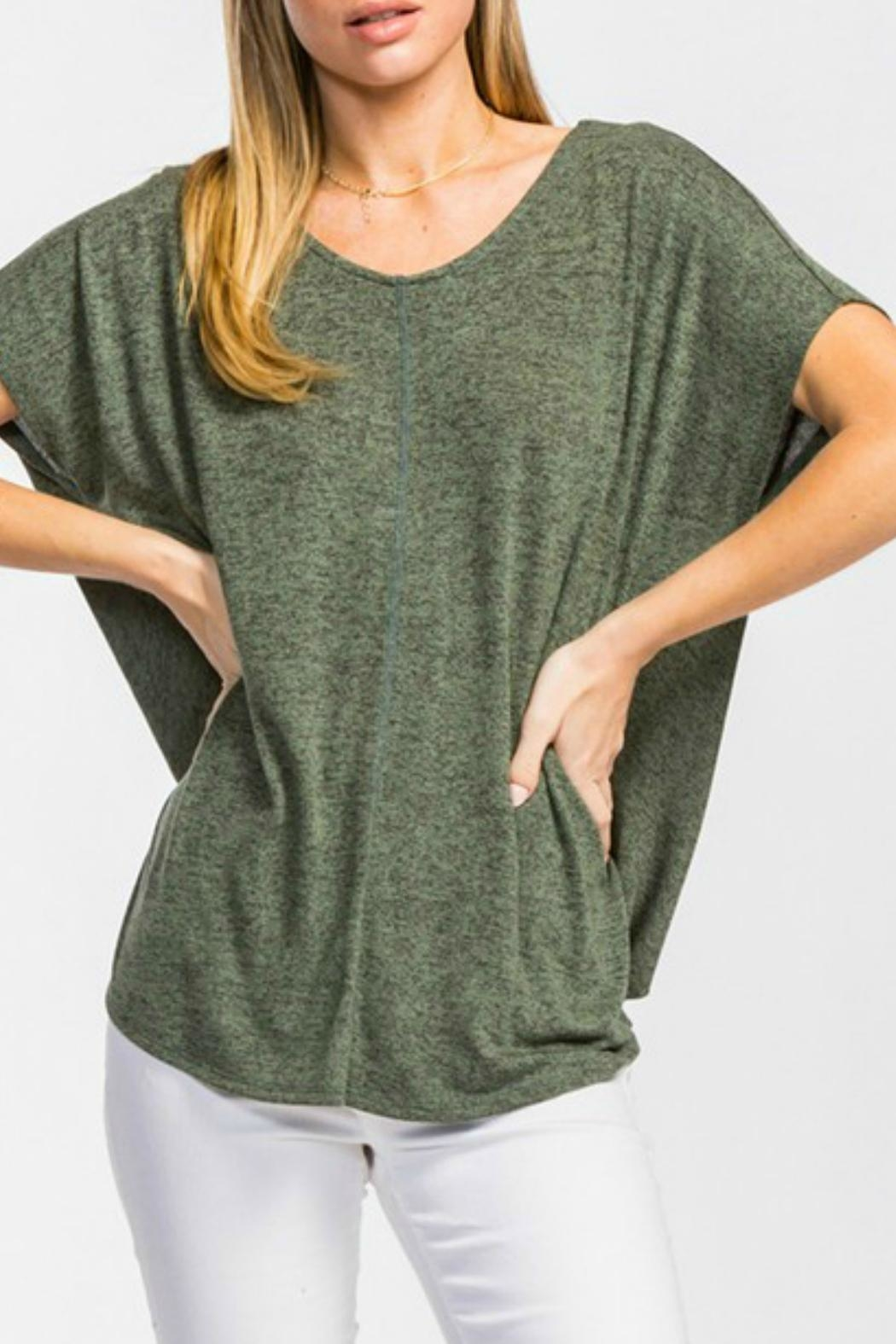 Cherish Olive Knit Top - Front Full Image