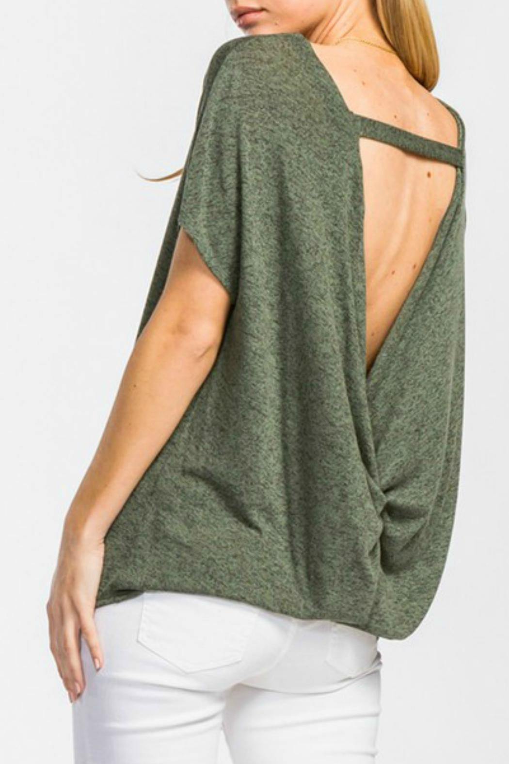 Cherish Olive Knit Top - Front Cropped Image