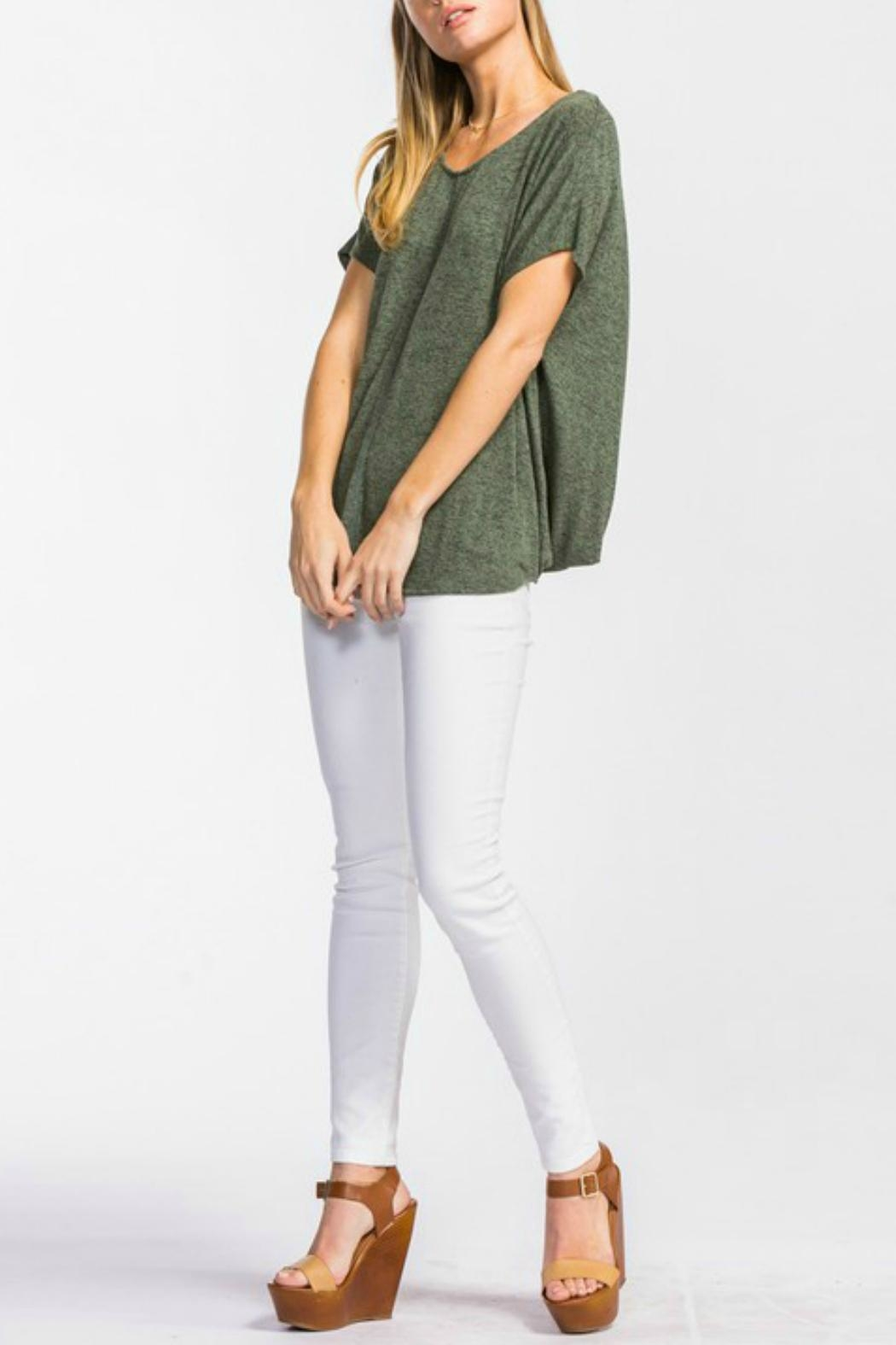 Cherish Olive Knit Top - Side Cropped Image