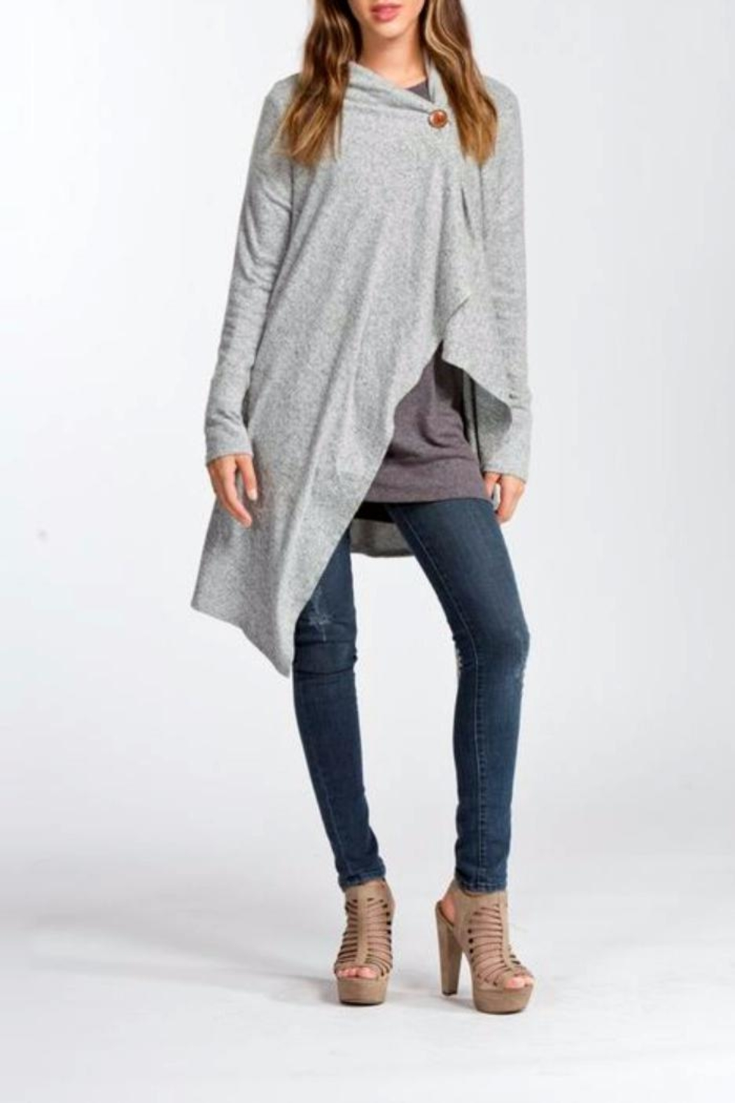 Cherish One-Button Wrap Cardigan - Front Cropped Image