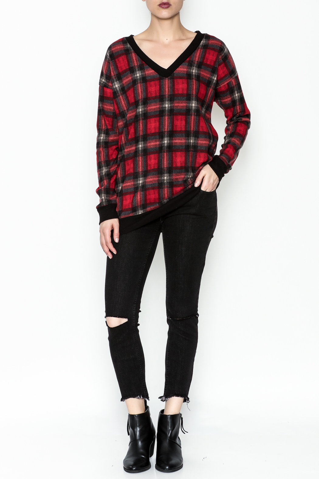 Cherish Plaid Vee Sweatshirt - Side Cropped Image