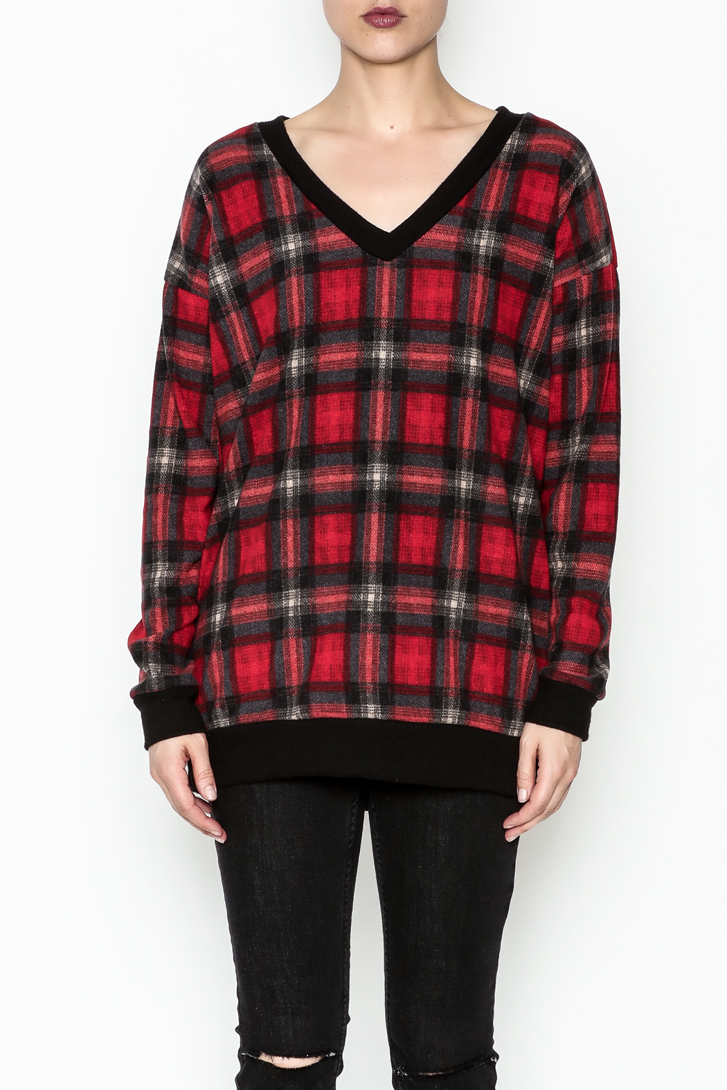 Cherish Plaid Vee Sweatshirt - Front Full Image